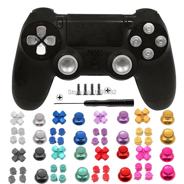 PS4 Thumb Grip Metal Thumb Grips Aluminum Replacement ABXY Bullet Buttons Thumbsticks Chrome D pad for Sony Playstation 4