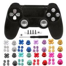 Металлические ручки для больших пальцев PS4, алюминиевые сменные кнопки ABXY, аналоговые стики, хромированные D pad для Sony Playstation 4
