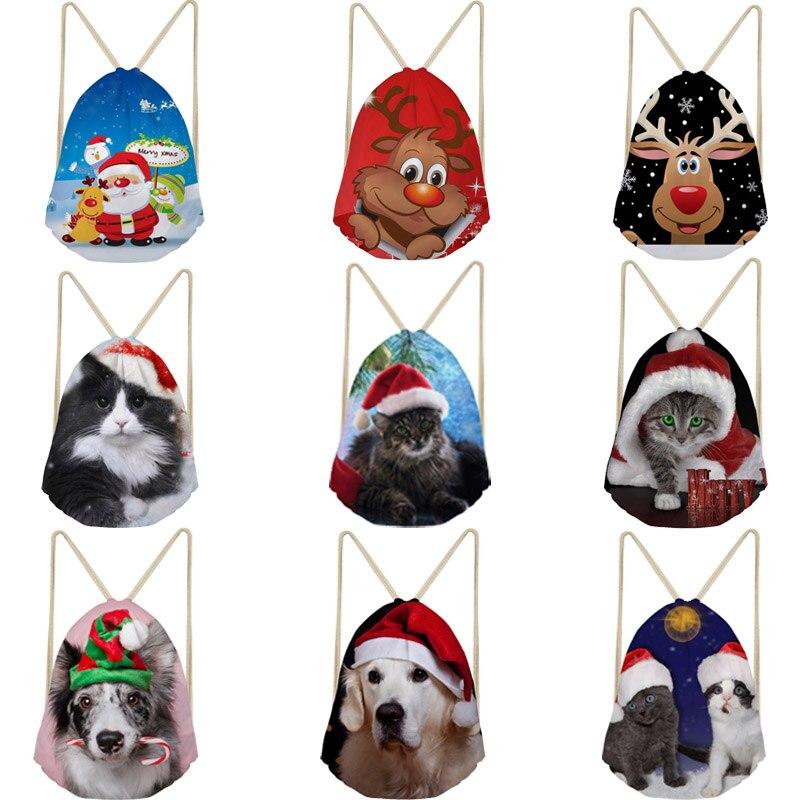 Christmas Gift Bags Drawstring Bags For Women Men Dog Cat Santa Clause Reindeer Shoulder Backpack Beach Bags String Bag Pocket