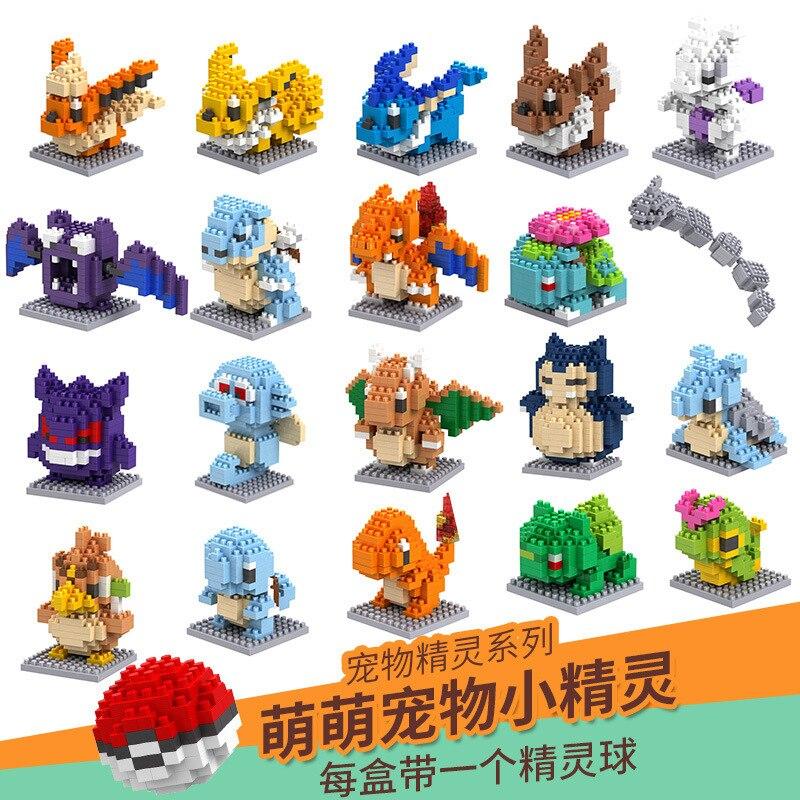 Pokemon Anime Building Block Toys TAKARA TOMY Pikachu Kids  Model  Ornament  For Chlidren Funny Gift