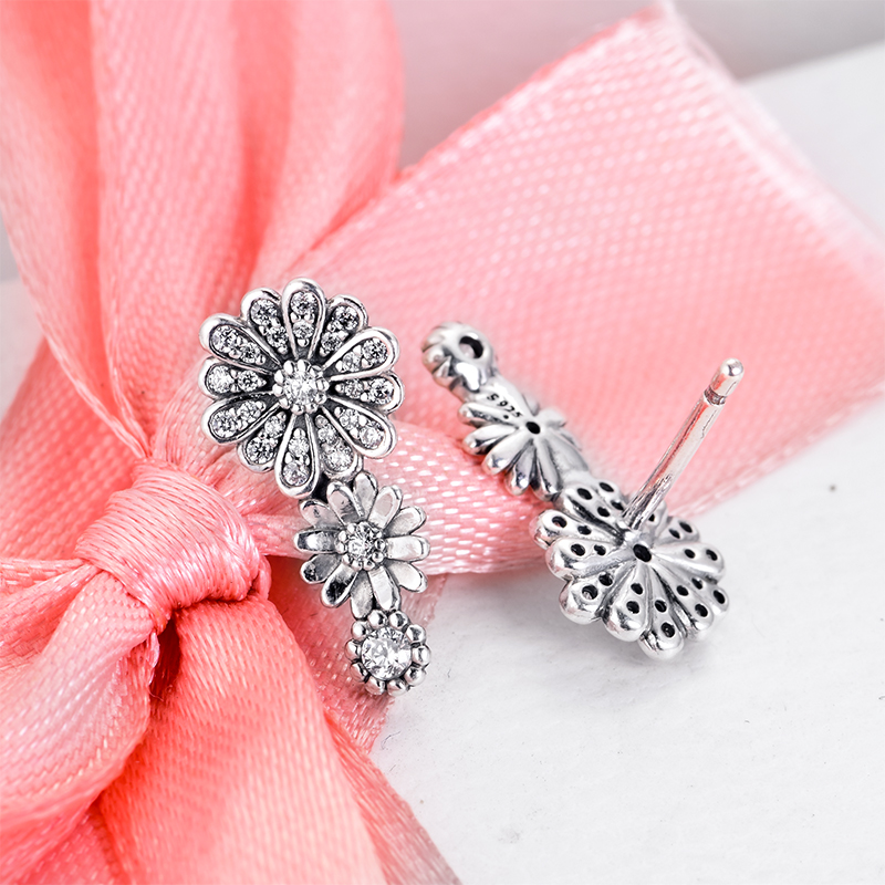 Sparkling-Daisy-Flower-Trio-Stud-Earrings-925-Sterling-Silver-Jewelry-Free-Shipping