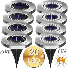 8PCS LED Solar Path Light 16LED /20 LED Solar Power Buried Lights Ground Lamp Outdoor Path Way Garden Decking Underground Lamps