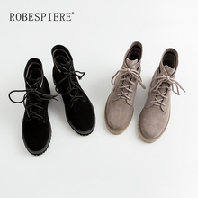 ROBESPIERE Winter Hot Sale Ankle Boots For Women Lace Up Flat Platform Casual Martin Top Quality Cow Suede Shoes B45