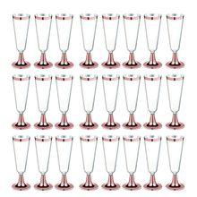 24 шт 150 мл пластиковые розовые золотые оправы Прозрачные Жесткие одноразовые вечерние стаканчики для свадьбы премиум-класса Необычные бокалы для шампанского флейты