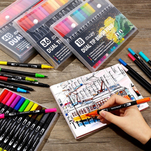 100 Colors Dual Tip Brush Marker Pens Art Watercolor Fineliner Drawing Painting Stationery Effect Best for Coloring Manga Comic