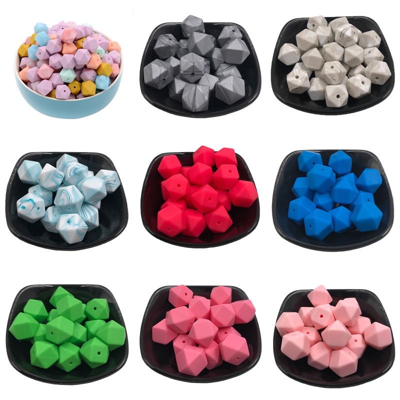10Pcs 14mm Hexagon Food Grade Silicone Beads Baby Teether Eco-friendly BPA Free Baby Teething Pacifier Chain Beads Baby Toy Gift