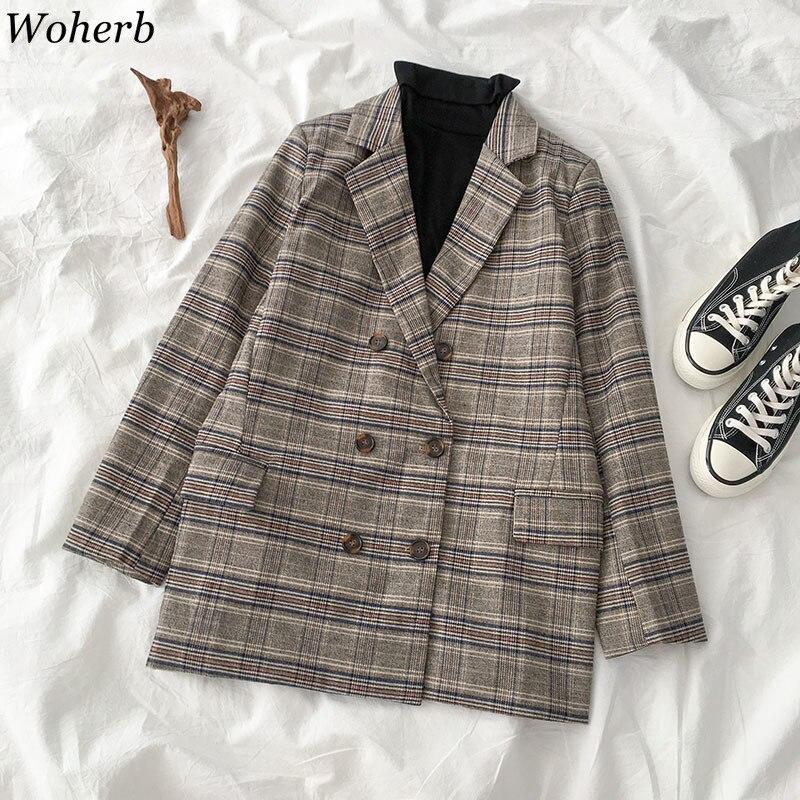 Woherb Women's Korean Vintage Lattice Elegant Woman Coats Jacket 2020 Autumn Fashion Plaid Blazer Coat Outerwear Lady 23710