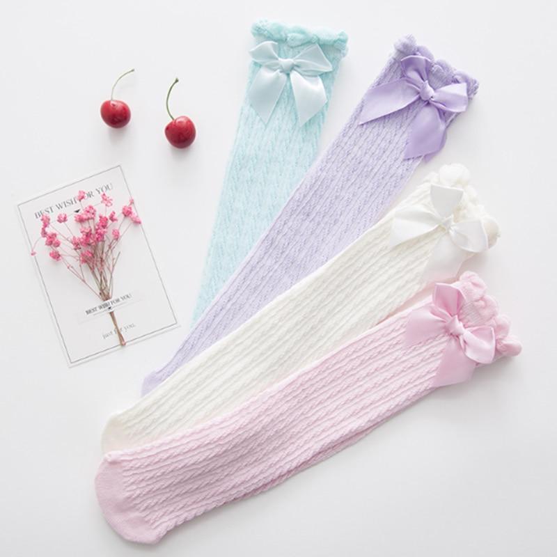 Kid Socks Baby Lovely Bowknot Stockings Cotton Girl Knee High Long Sock 1 Pair