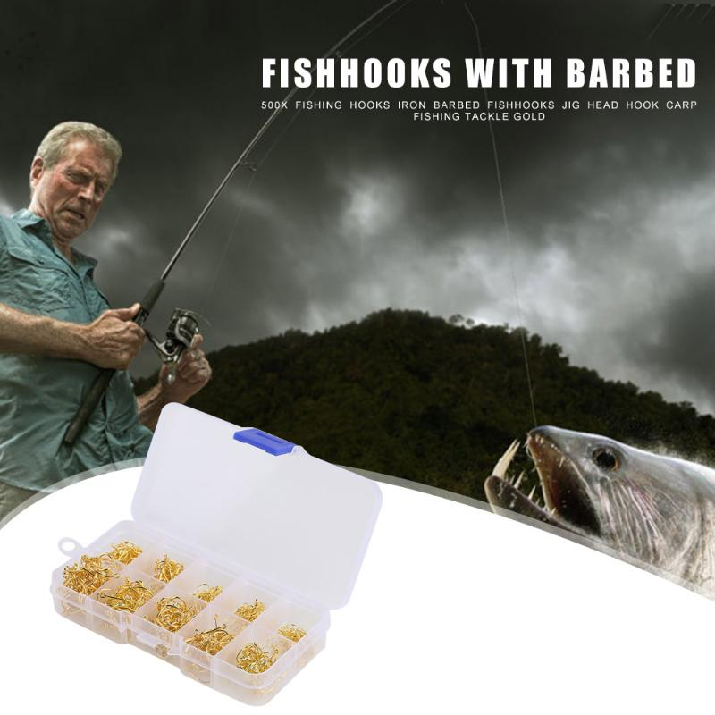 500pcs Fishing Hooks Iron Barbed Gold Fishhooks Jig Head Hook Carp Fly Outdoor Fishing Tackle Tool Accessories