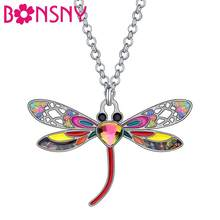 Bonsny Enamel Alloy Rhinestone Dragonfly Necklace Pendant Chain Choker Insect Jewelry For Women Girls Teen Charms Gift Accessory(China)