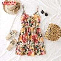 Tangada 2021 Summer Women Flowers Print Dress Spaghetti Strap Sleeveless Ladies Mini Dress Vestidos BE327 1