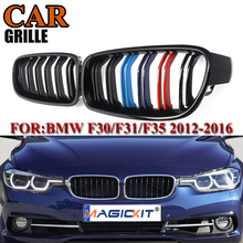 цена на MagicKit Car Racing Grills Front Kidney Grilles For BMW F30 F31 F35 320i 328i 335i 2012 2013 2014 2015 2016 2017 Gloss Black M