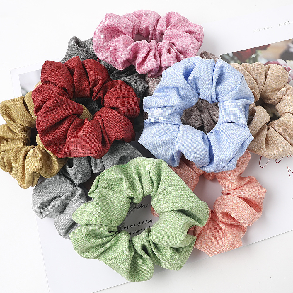 2020 New Spring Summer Top Shelf Product Woman Hair Schrunchy Set 10pcs/lot Wholesale Linen Scrunchies Pack Top Quality