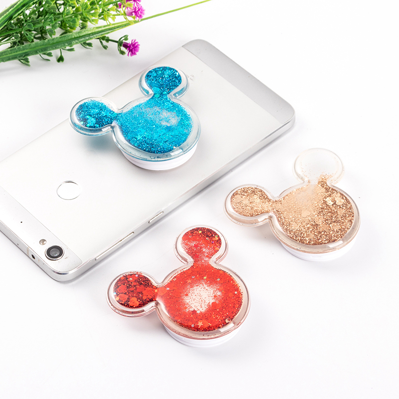 Cute Mickey Glitter Quicksand Pocketsocket Finger Grip Phone Holder Socket Air Bag Cell Stand For IPhone X For Samsung Pocket