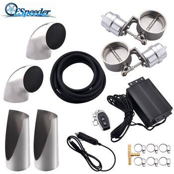 "ESPEEDER Stainless Steel Exhaust Control Valve Set Cutout  3.0"" 76mm Pipe Close Style+Vacuum Actuator+Wireless Remote Controller"