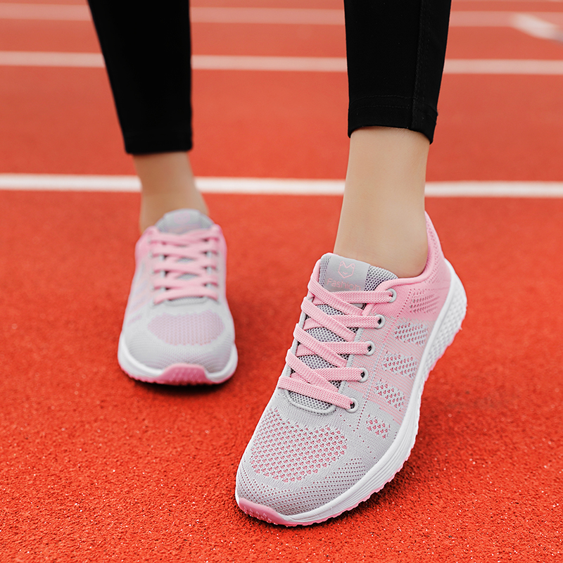 2020 Women Shoes Flats Fashion Casual Ladies Walking Woman Lace-Up Mesh Breathable Female Sneakers Zapatillas Mujer Feminino 8