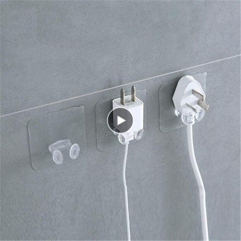 Socket Plug Hook Transparent Strong Self Adhesive Door Wall Hangers Towel Handbag Hooks Plug Hook Kitchen Bathroom Accessories