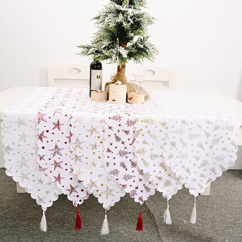 Weihnachten Tisch Läufer Weihnachten Baum Sterne Frohe Weihnachten Dekorationen für Heim Tabelle 2020 Weihnachten Ornamente Neue Jahr Party Decor
