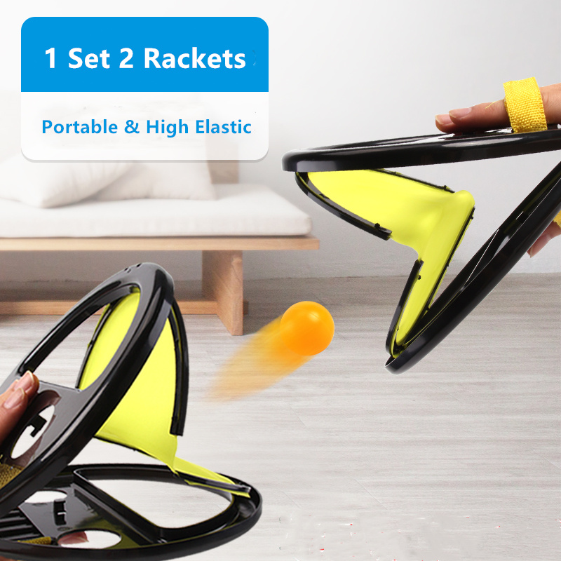 2 Rackets 1 Set Throw Ball Game Portable Indoor Outdoor Sport Toys Tennis Trainer Training With High Elastic Balls Home Fitness
