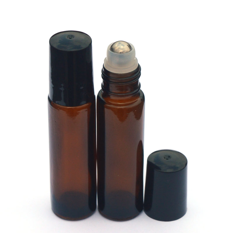 1pcs 10ml Amber Glass Bottle Roll On Empty Fragrance Perfume Essential Oil Bottle 10 ML Roll-On Black Plastic Cap Bottle