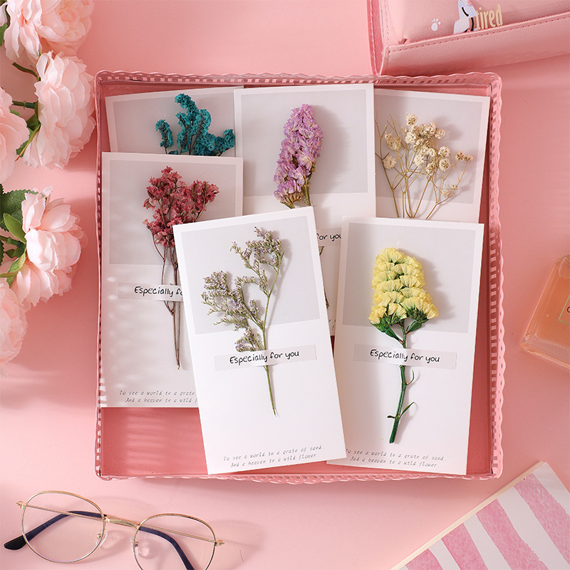 5pcs Birthday Dried Flowers Invitations Postcards Wedding Party Festival Greeting Card