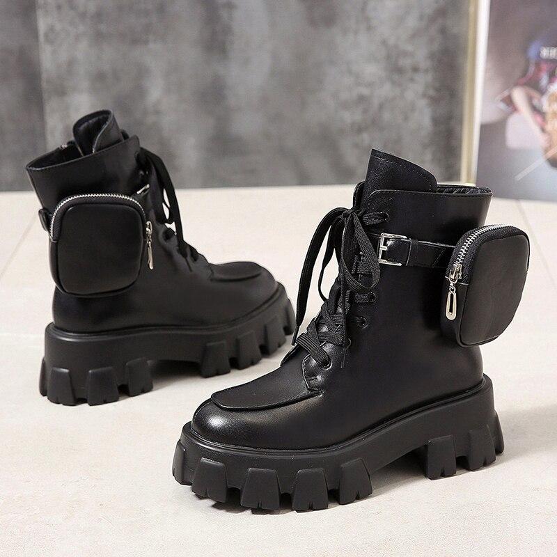 Мотоботы с карманами, женские ботинки на платформе со шнуровкой и толстой подошвой, черные, военные ботинки, женская обувь, 2020