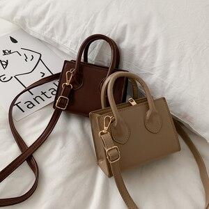 Fashion Solid Color PU Crossbody Handbag Women Portable Handle Leather Shoulder Totes Purse Female Simple Top-Handle Bag