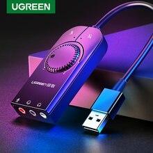 Ugreen USB Placa de Som Externa Interface de Áudio 3.5 milímetros Adaptador de Microfone de Áudio da placa de Som para Laptop PS4 Headset USB Placa de Som