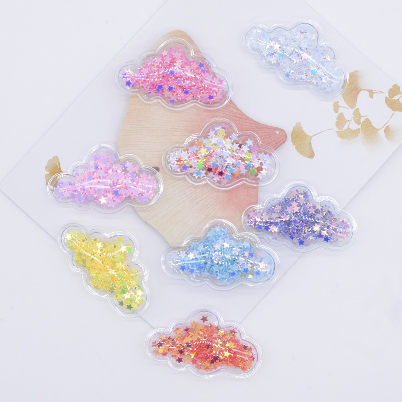 32Pcs 40*25mm Mini Cloud Shake Star Patches for Baby Girls Headwear DIY Crafts Supply Shake Shake Appliques Hairclip Accessories