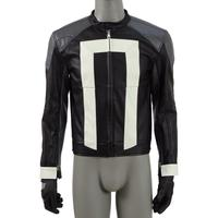 CosDaddy Roberto Reyes Cosplay Costume Ghost Black PU Jacket With Gloves Knight Rider Coat