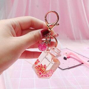 Creatieve Popsicle Glitter Sleutelhanger Quicksand Sleutelhanger Liquid Drijvende Fruit Sleutelhanger Rugzak Hanger Gift voor vrouwen K079(China)