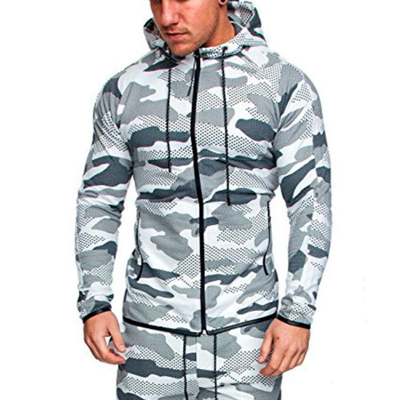 Hoodie Men Streetwear Hoody Zip-up Sweatshirts Mens Hoodies Plus Size Camouflage Casual Slim Fit Sweattshirt Trendy Sports Tops
