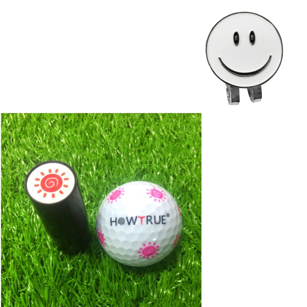 Golf Ball Marker With Detachable Hat Visor Clip With Ball Stamper Stamp Eye Carton Sun Print Golfer Gift Accessories
