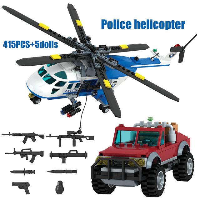 691PCS SWAT Helicopter Boat Building Blocks City Police Station Technic Car Vehicle DIY Figures Bricks Toys for Childre
