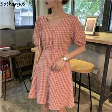 Dress Women Short-Sleeve Plaid Chic Korean-Style Fashion Ulzzang V-Neck All-Match Backless