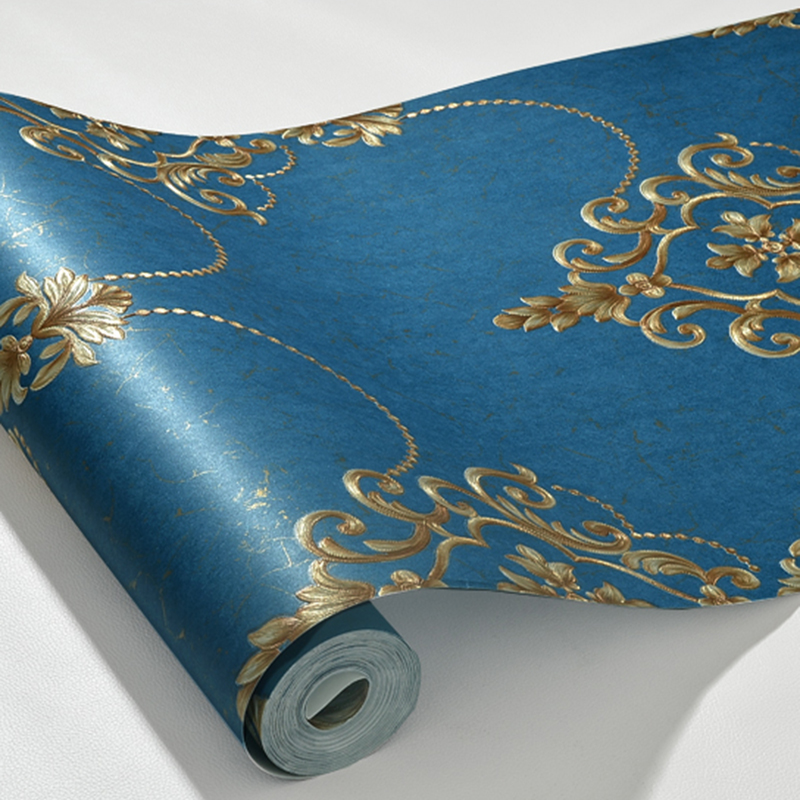 1M European Damask Wallpaper Roll 3D Embossed Non-woven Paper Wall Decor For Living Room Bed Room