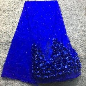 Image 3 - ブルー 3d生地のウェディングドレス 2020 新 5 ヤードアフリカのレース生地高品質のフランスのネットレース 3d花SH10522