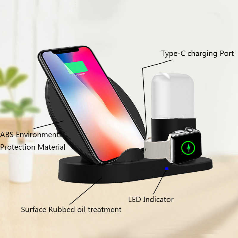 2019 High Quality multi function Fast charge smart watch charging stand rotating three-in-one wireless charger for iphone/Type-C