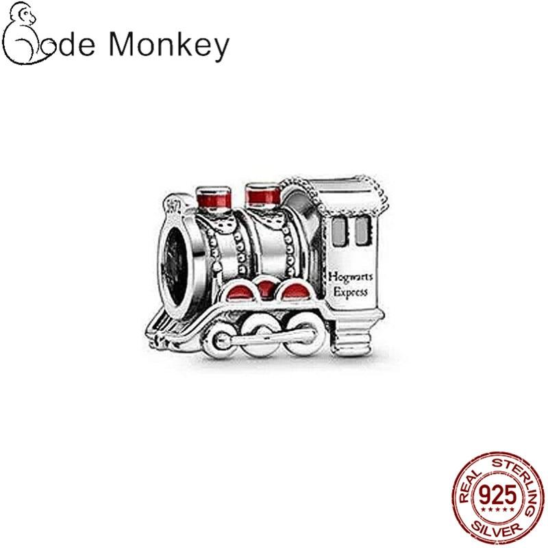 Qikaola 100% 925 Sterling Silver Train Beads Fit Original Bracelet & Dangle Hot Sale S925 DIY Jewelry Making CMS1514e
