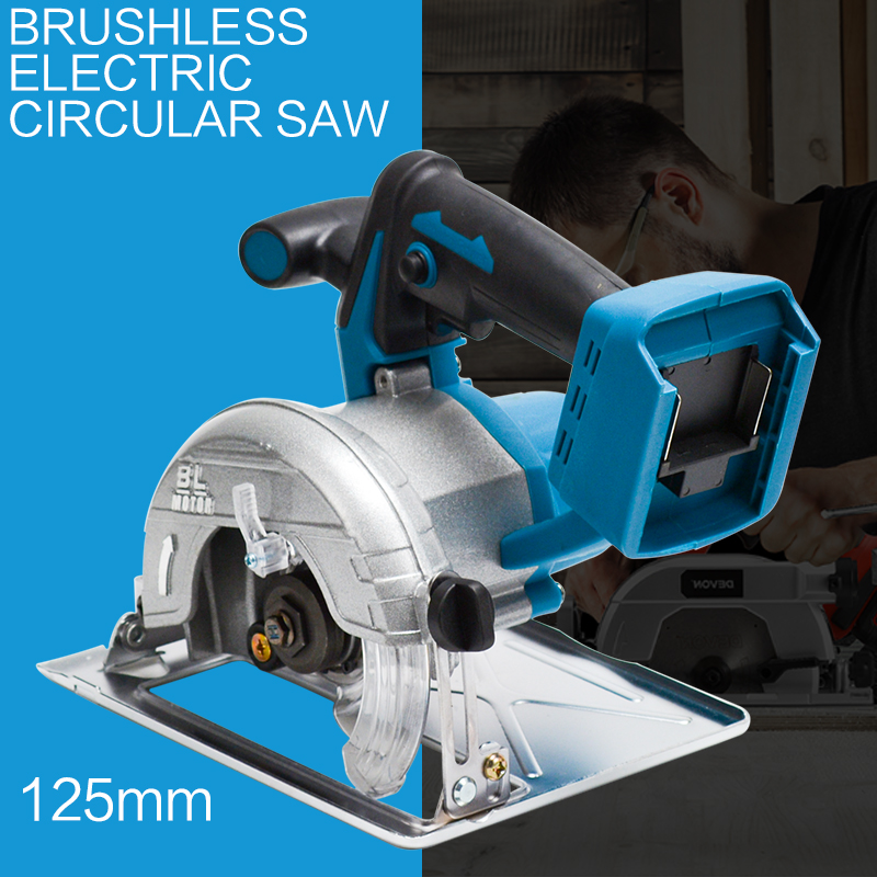 125mm 10800RPM Cordless Electric Circular Wood Cutter 0 to 45 Adjustable Curved Cutting Sawing Machine for 18V Makita Battery