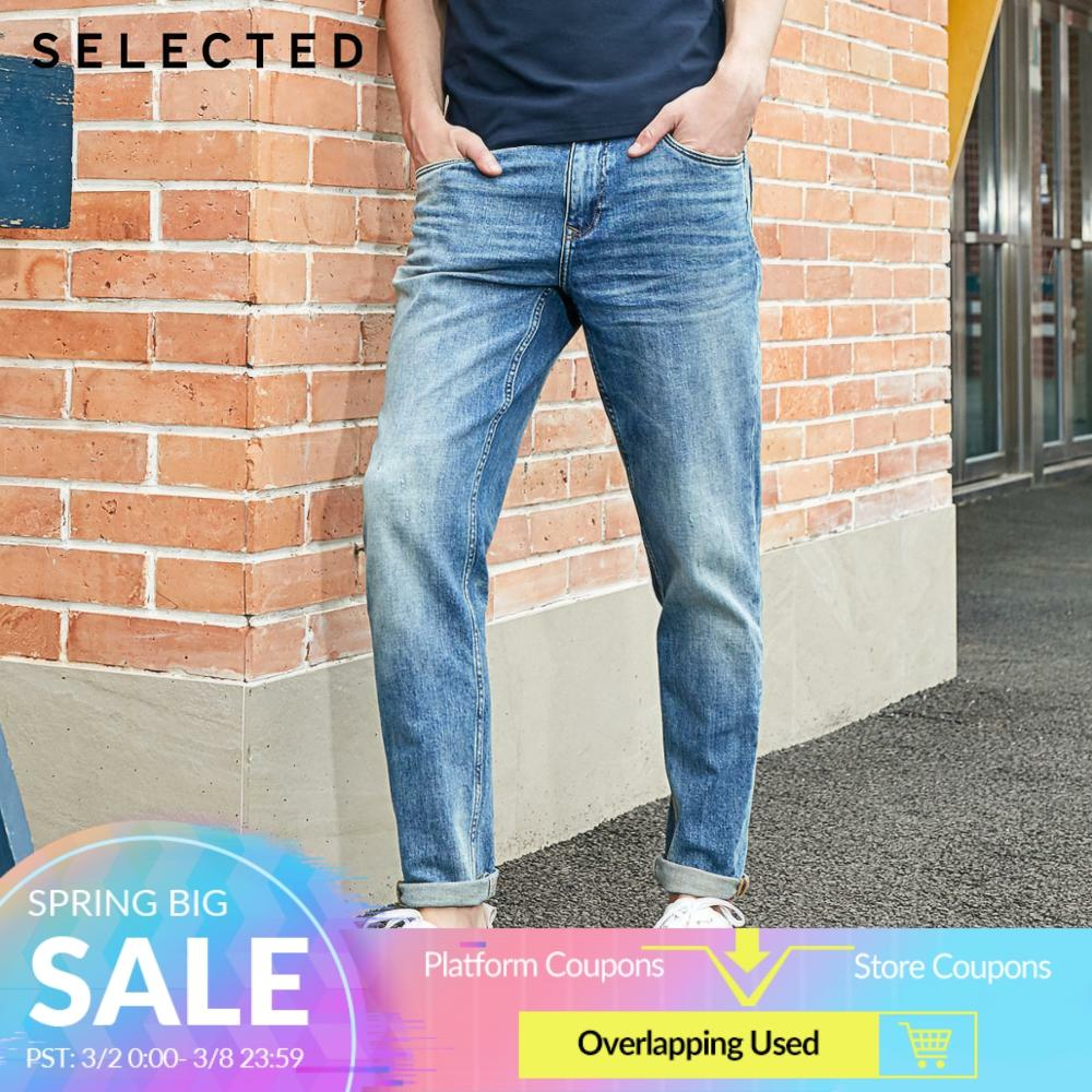 SELECTED Men's Stretch Cotton Denim Pants Washed Tapered Jeans R 420132532