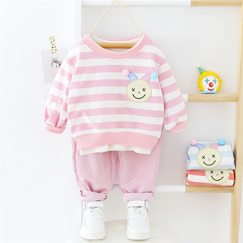 HYLKIDHUOSE 2020 Spring Baby Girls Clothing Sets Cartoon Stripe Pants Vacation Costume Toddler Infant Children Casual Clothing