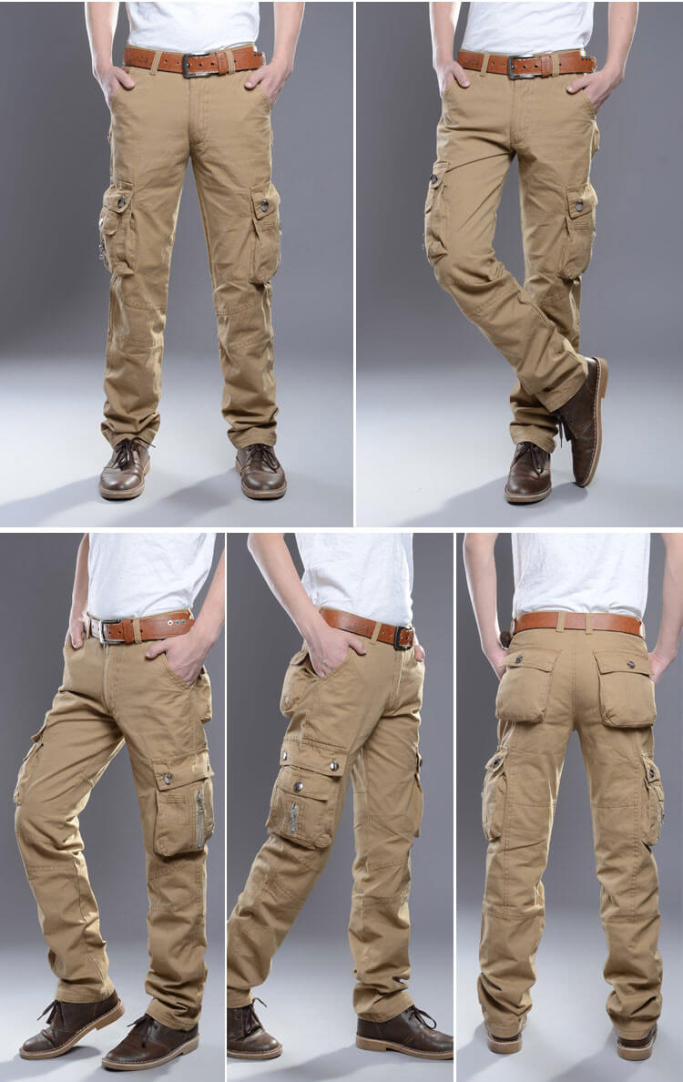 KSTUN Cargo Pants Men Straight 100% Cotton Baggy Zippers Designer Multi-Pockets Overalls Men's Casual Pants Long Trousers Outdoors 12