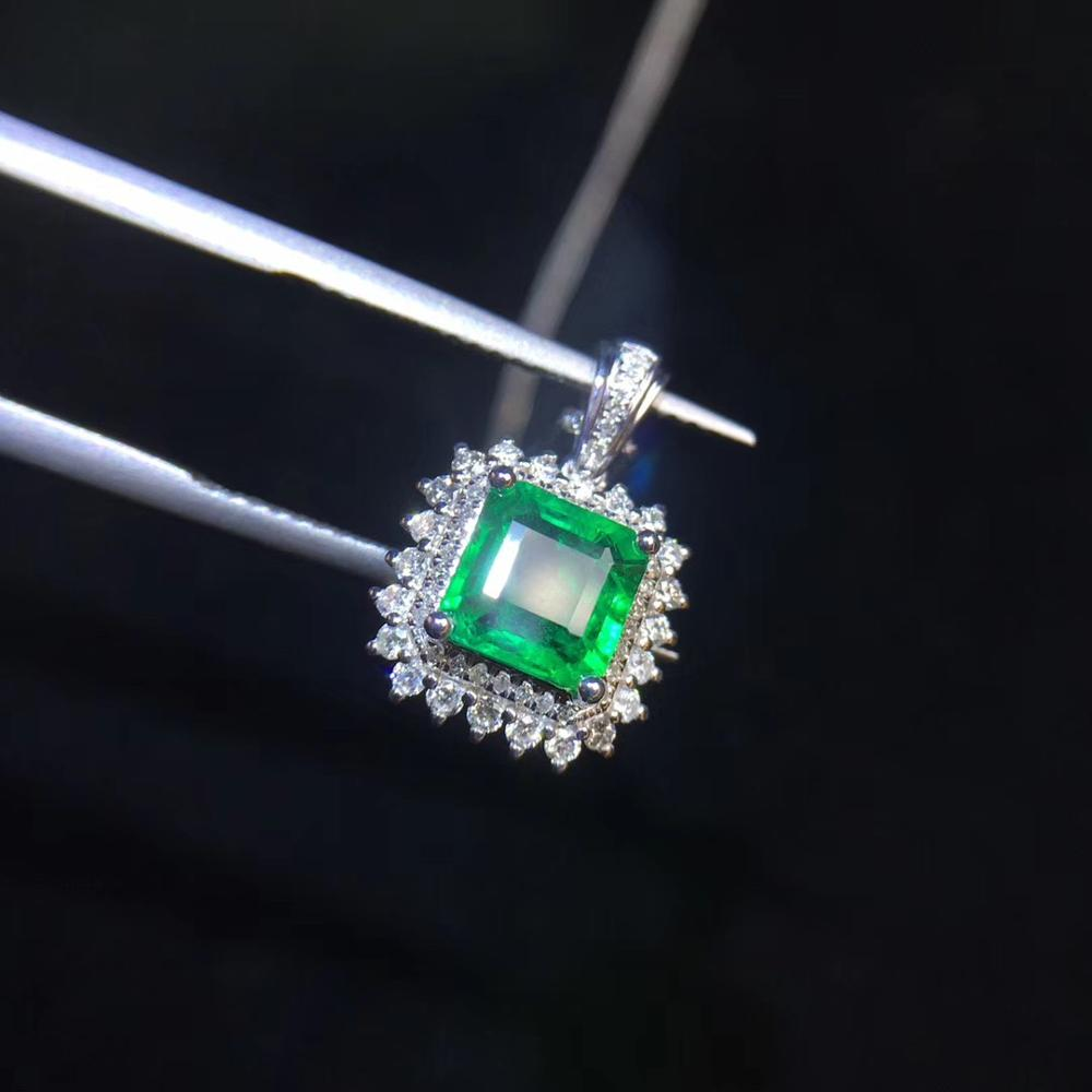 Fine Jewelry Real 18K White Gold AU750 Natural Emerald Gemstones 1.17ct Luxury Female Pendants For Women Fine Necklace