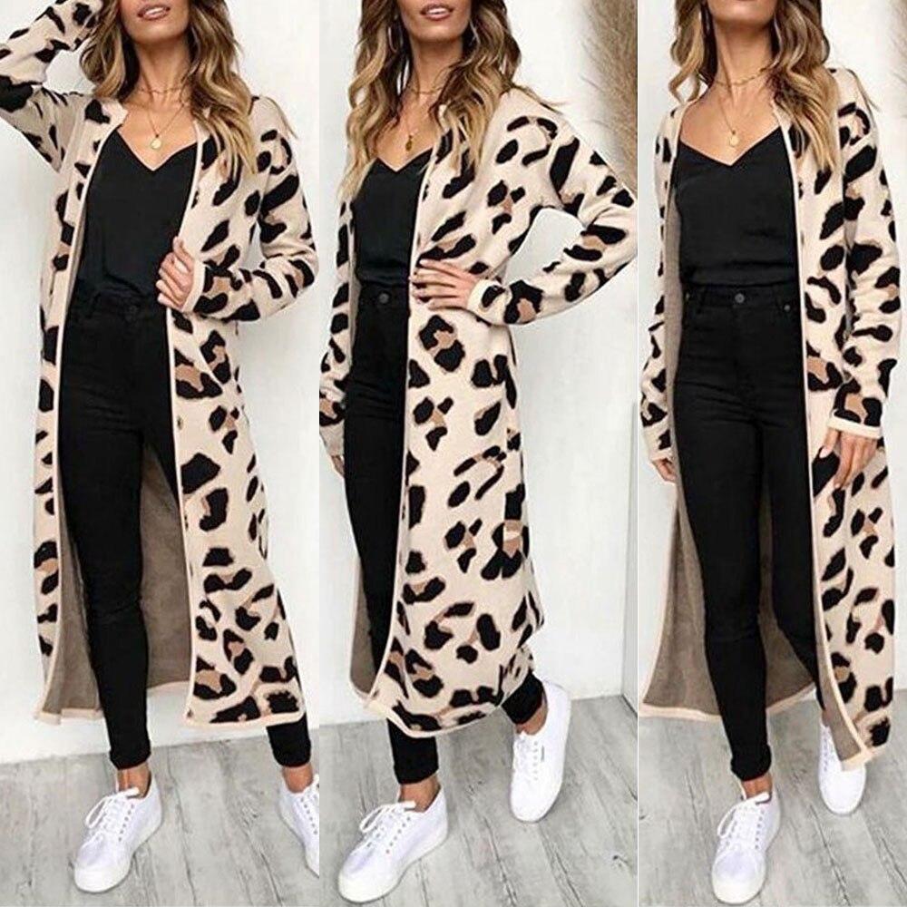 Women Long Sleeve Leopard Print Long Sleeve Cardigan Open Front Jacket Coat Slim Women Outerwear Topженская куртка new 50