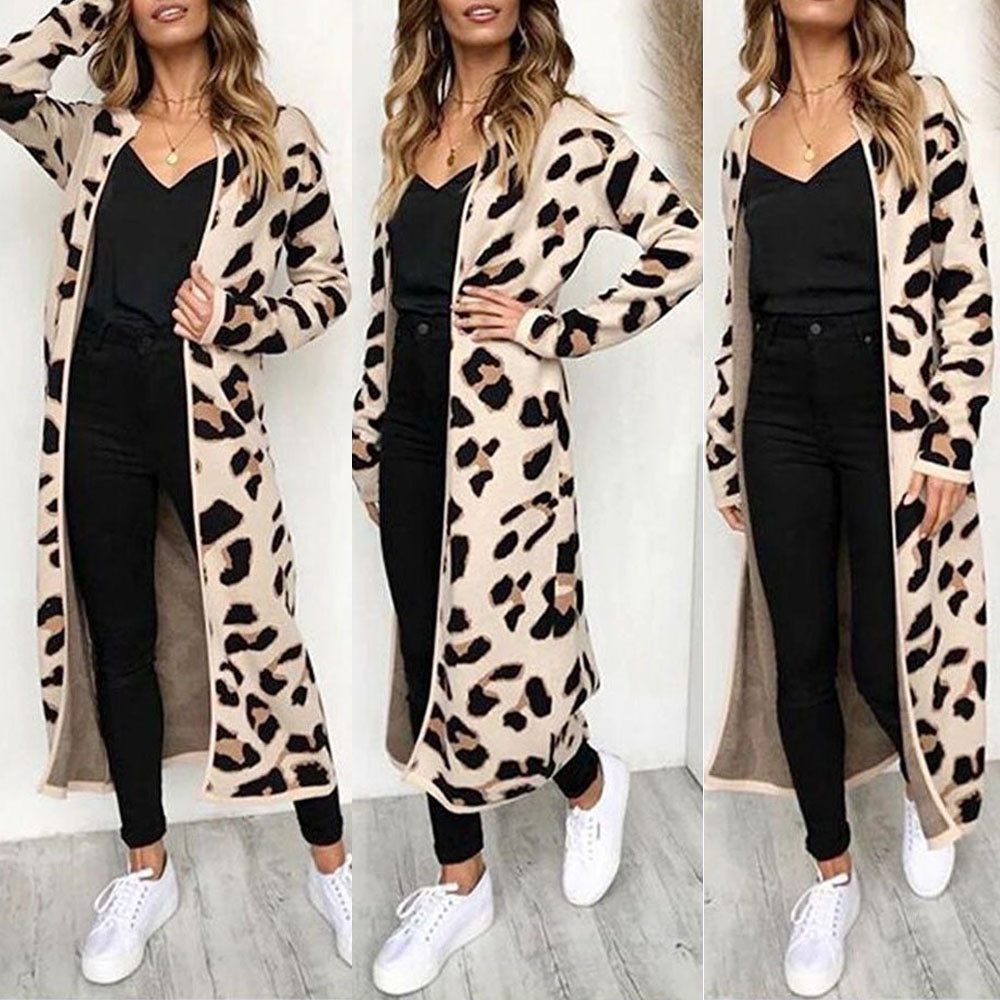 35 New sweater women Long Sleeve Leopard Print Cardigan Open Front Jacket Coat blusas femininas sueter Innrech Market.com