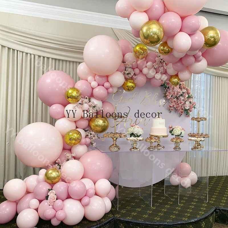 169 adet balon Garland Arch kiti DIY bebek pembe şeftali 4D altın balonlar doğum günü bebek duş düğün parti dekorasyon