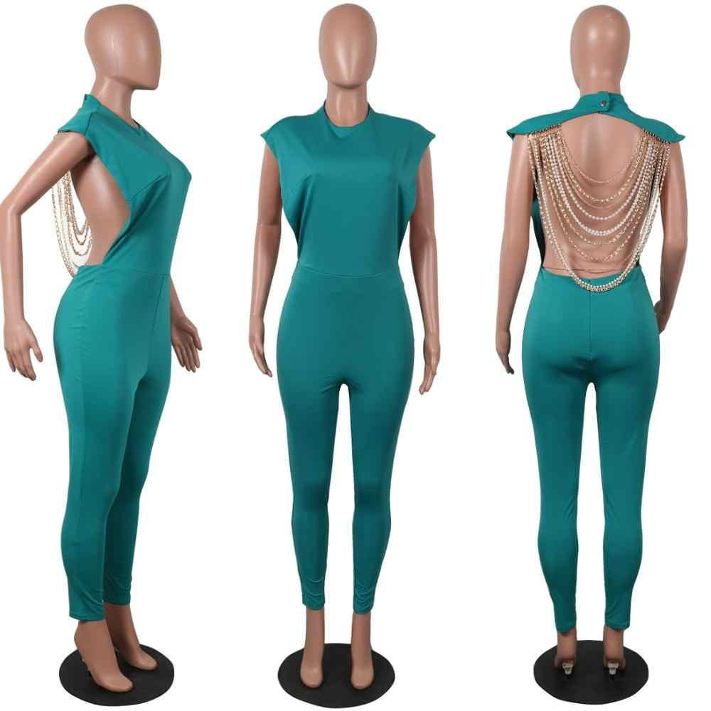 ไข่มุก CHAIN Backless Bodysuit Jumpsuit 2020 ใหม่เซ็กซี่ Clubwear Overalls สำหรับผู้หญิง Jumpsuits Playsuits Rompers ยาวกางเกง