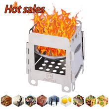 S/M/L Folding Wood Stove Alcohol Portable Outdoor Picnic Cook BBQ Burners Titanium Camping Stainless Steel Bag D20