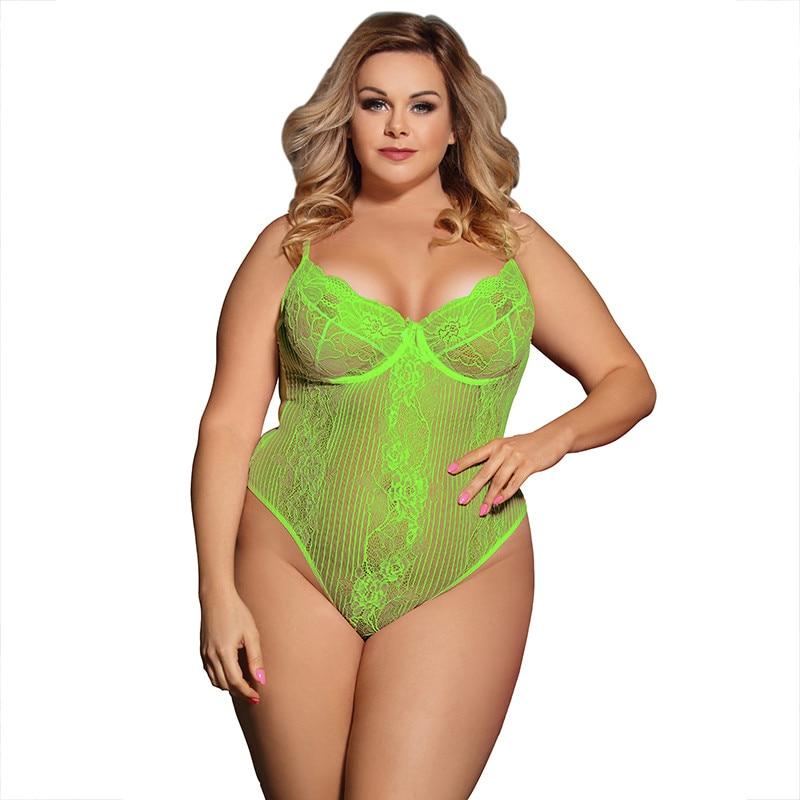 Neon Lace Bodysuit Transparent Body Mujer Plus Size 3XL 5XL Black Outfits Hot Streetwear Sexy Jumpsuit Women Kombinezony RS80536